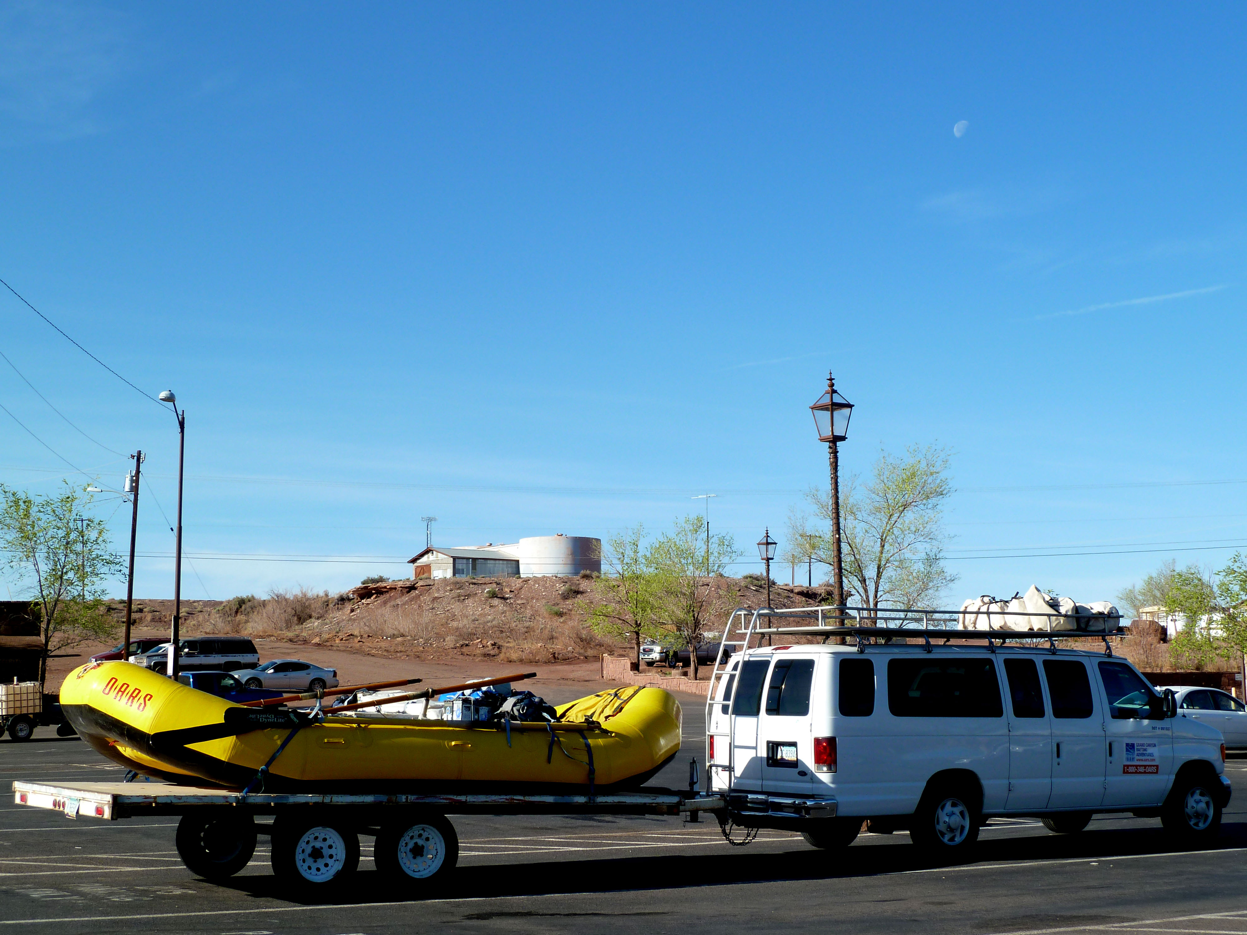 Our van and raft, at Cameron Trading Post