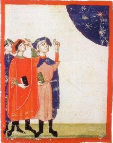 Natural philosophers of the middle ages studying comets.