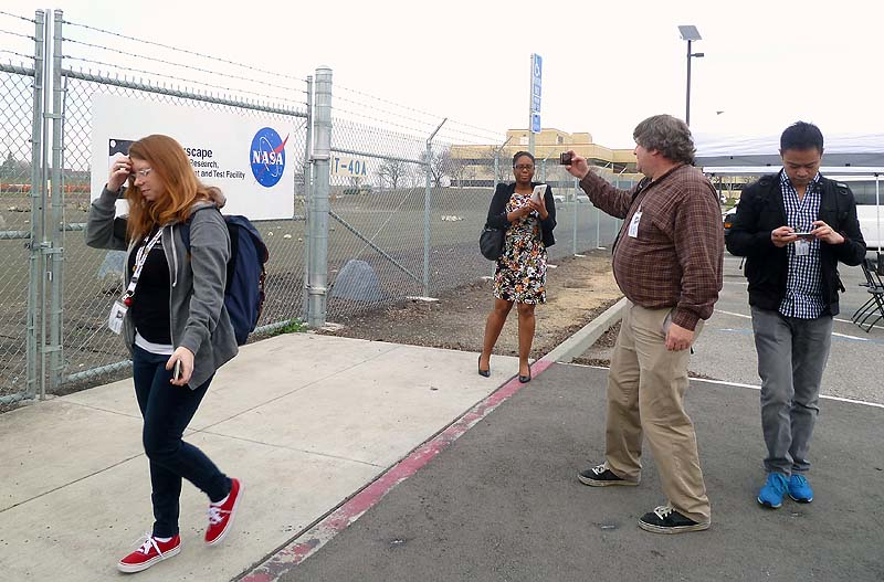 On arrival, our NASA Social Team quickly demonstrates thinking, writing, photographing, and connecting.
