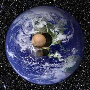 Compare the sizes of Earth and Pluto & Charon Image Credit: NASA
