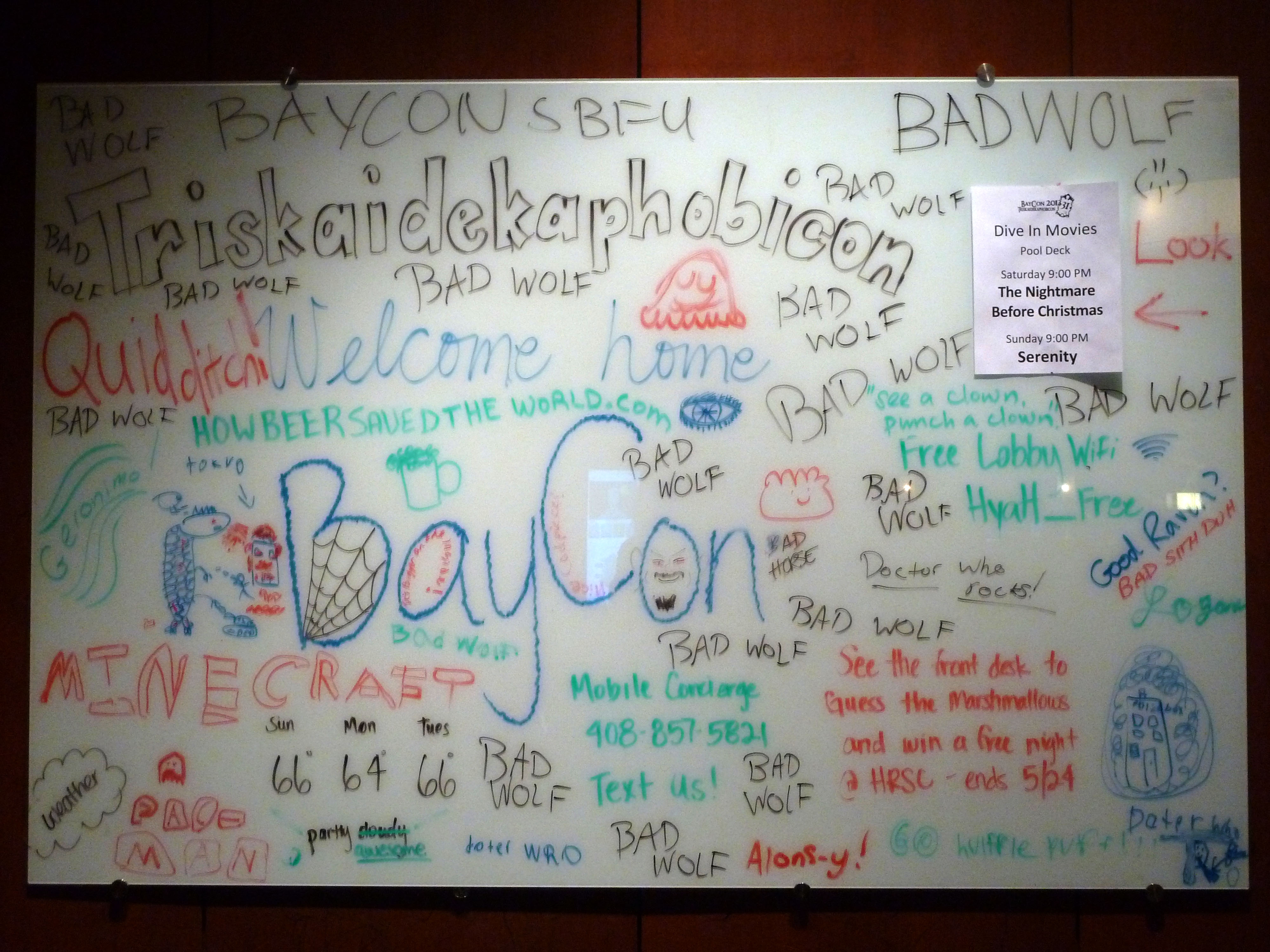 BayCon participants embellished the welcome sign profusely.