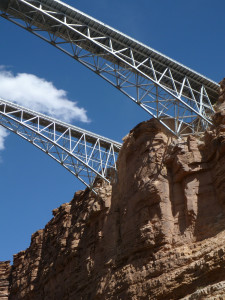 The Navajo Bridges pass overhead