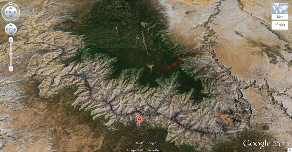 A Google Earth map view of the Colorado River snaking through the Grand Canyon