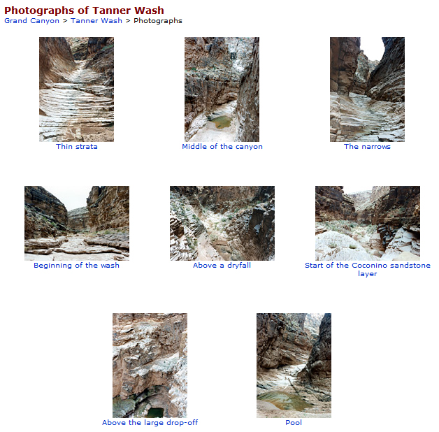 A set of thumbnail views showing the rocky shapes within Tanner wash--steep canyon walls, rippled surfaces, all in grey rock.