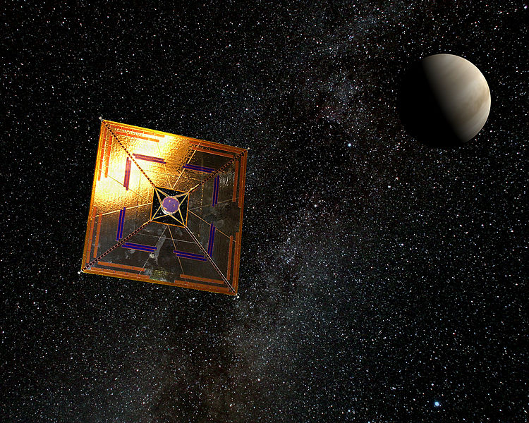 The Japanese IKAROS spaceprobe in flight (artist's depiction by Andrzej Mirecki).