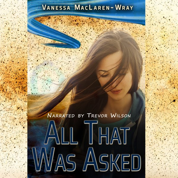 """Cover of book """"All That Was Asked"""" with woman looking down and distant glowing object in the background."""