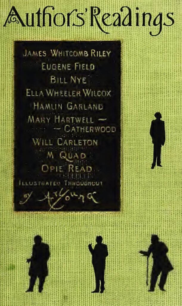 The cover of an old chapbook named Authors Readings featuring a list of author names and silhouettes of figures.
