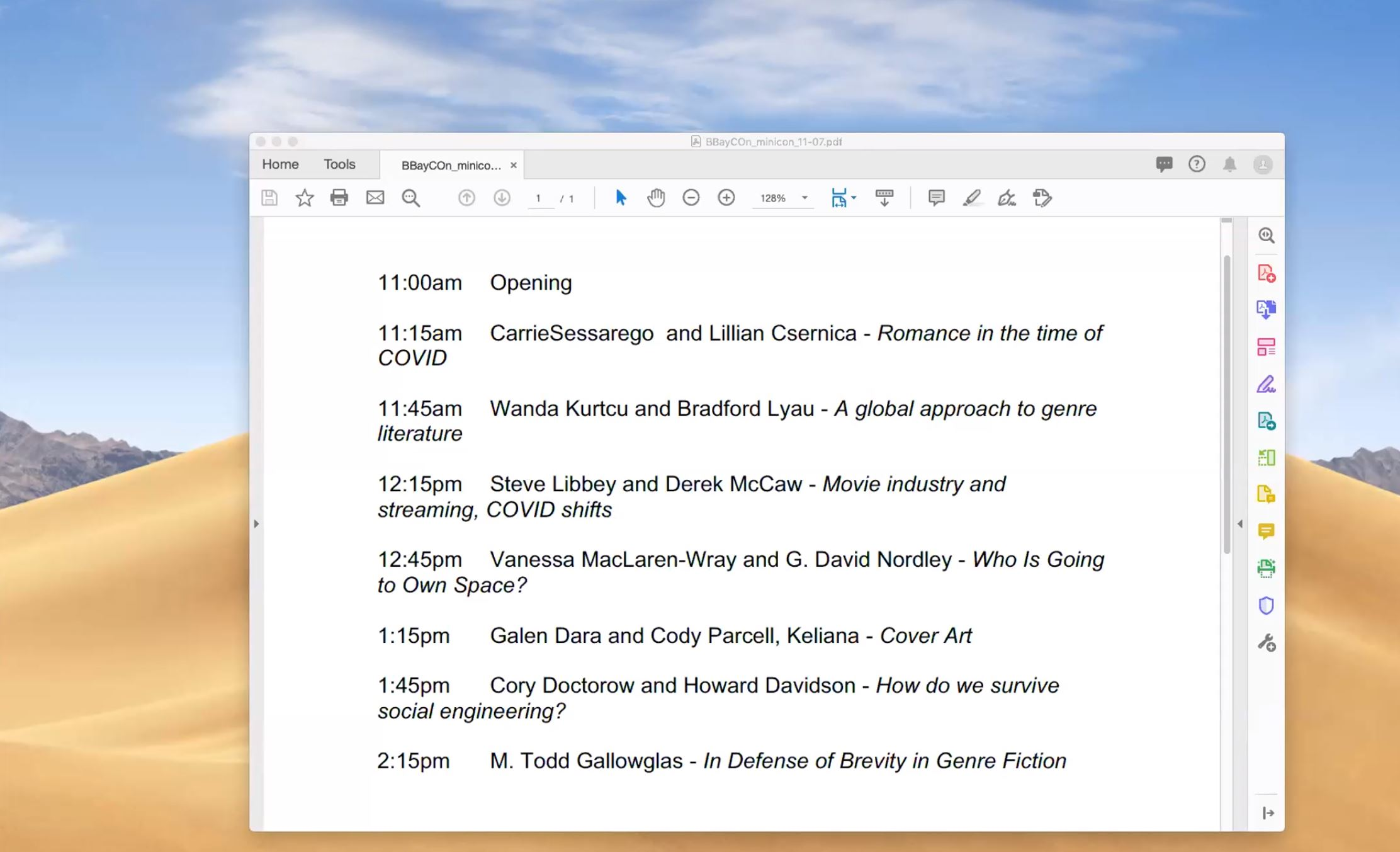 A screenshot showing a sand-dune scene with a blue sky, mostly hidden by the planned program of a BayCon mini-con, with Vanessa MacLaren-Wray and G. David Nordley at 12:45 pm, with Carrie Sessarego and Lilian Csernica presenting Romands in the time of COVID, Wanta Kurtcuand Bradford Lyau on A global approach to genre literature, Steve Libbey and Derek McCaw on Movie industry and streaming, Galen Dara, Cody Parcell, and Keliana on Cover art, Cory Doctorow and Howard Davidson on How do we survive social engineering, and M. Todd Gallowglas on In defense of Brevity in genre fiction.