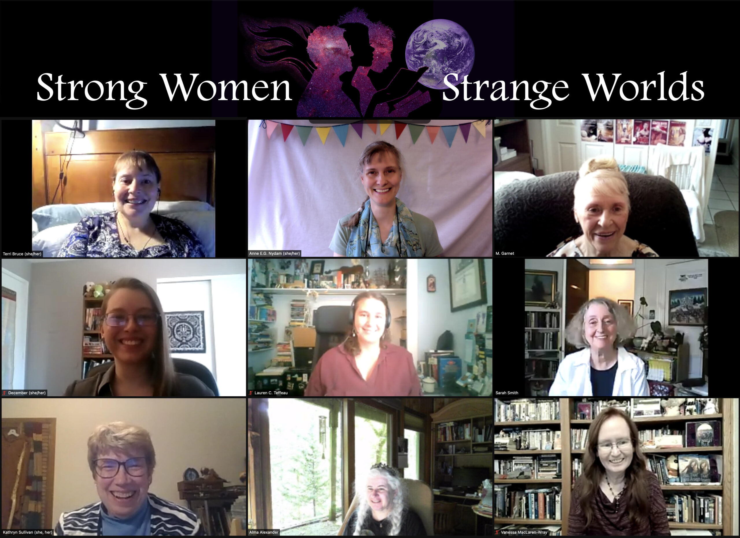 A Zoom image array: heading of Strong Women, Strange Worlds in blues and purples, and nine women/nonbinary authors in their zoom boxes below.