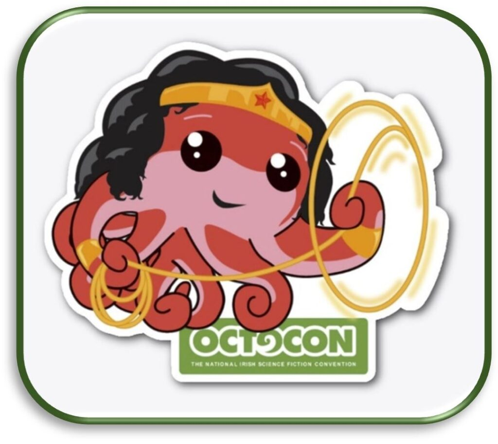 A cute pink-and-red cartoon octopus is cosplaying as Wonder Woman while twirling her golden lasso of truth. Text: Octocon The national irish science fiction convention.